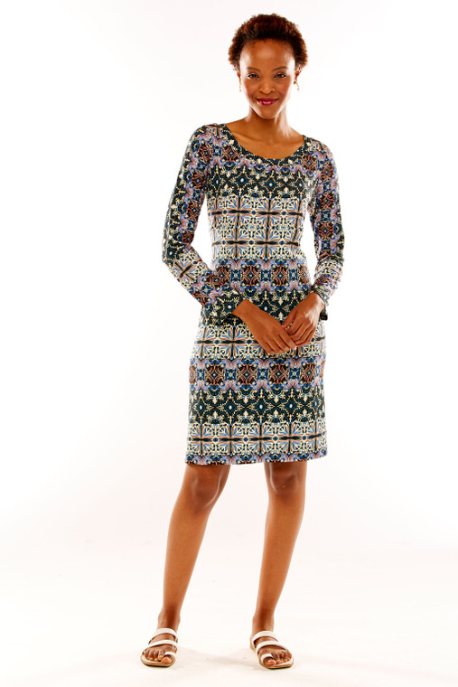 Jersey Mosaic Print Shift Dress