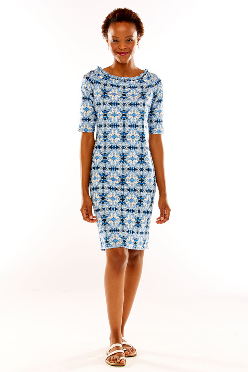 Tile Print Shift Dress With Ruffle Boat Neck