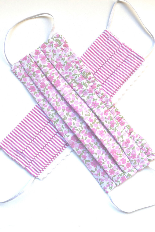 Pink Floral Reversible Mask with Trim