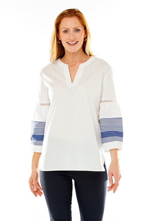 3/4 Striped Bishop Sleeve Tunic With Notch Collar