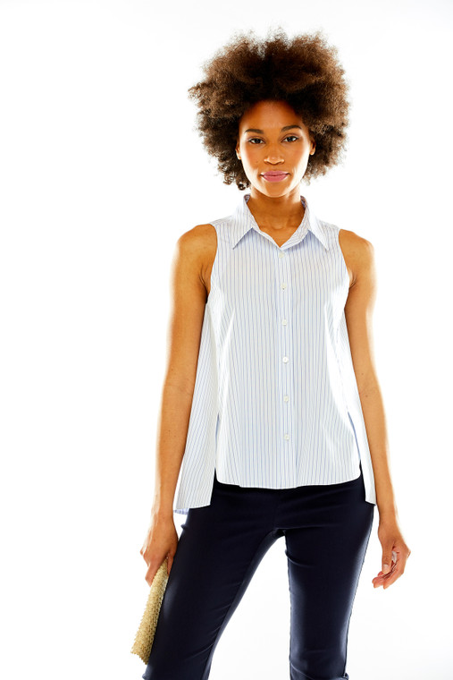 Sleeveless Striped Button Front Blouse With Slits