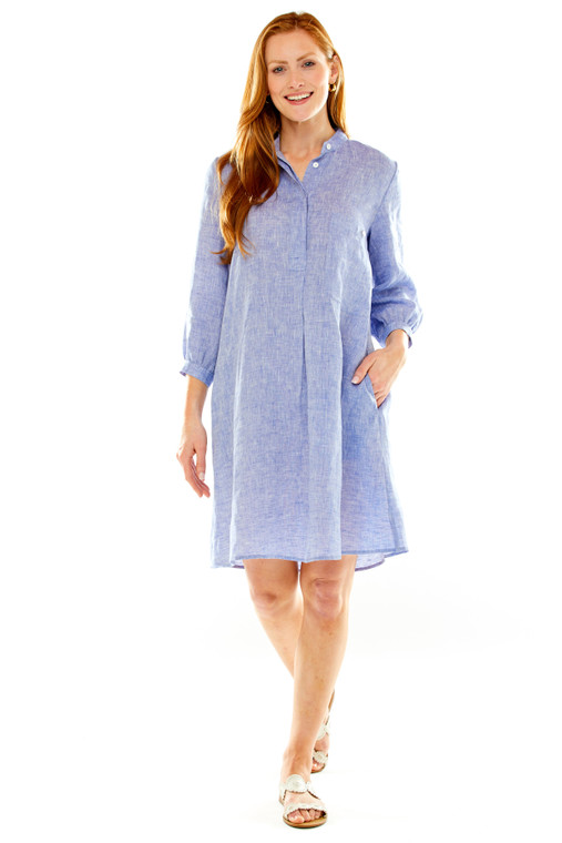 Linen Shirt Dress With Front Patch Pocket