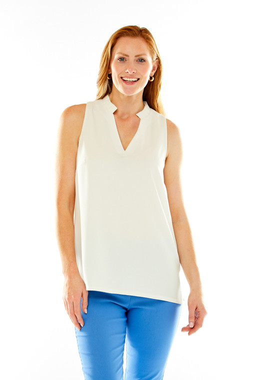 Easy Crepe V Neck Tunic With Pleated Collar