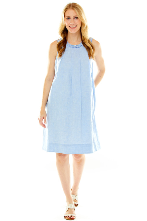 Trapeze Dress With Gingham Trim