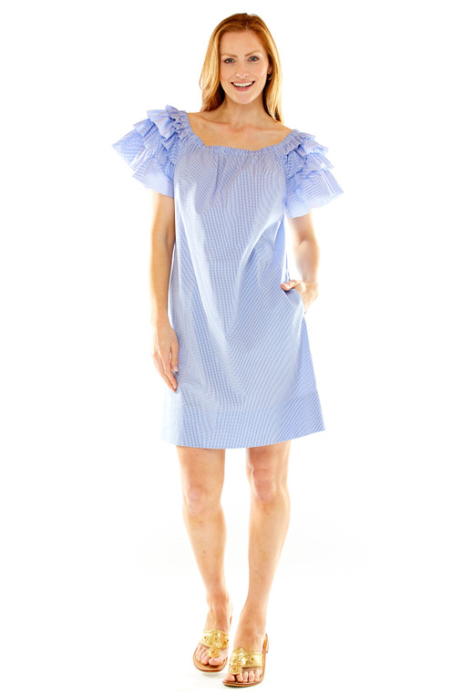On/Off Shoulder Trapeze Dress With Tiered Sleeves