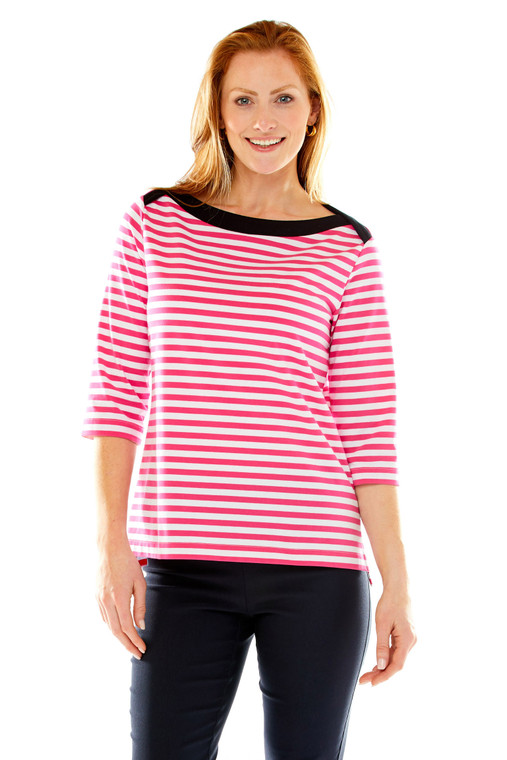 Fedder Stripe Tee With Contrasting Canoe Neck