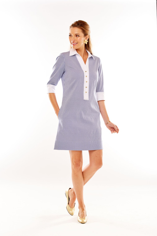 Stripe Shirtdress With Contrasting White Trim