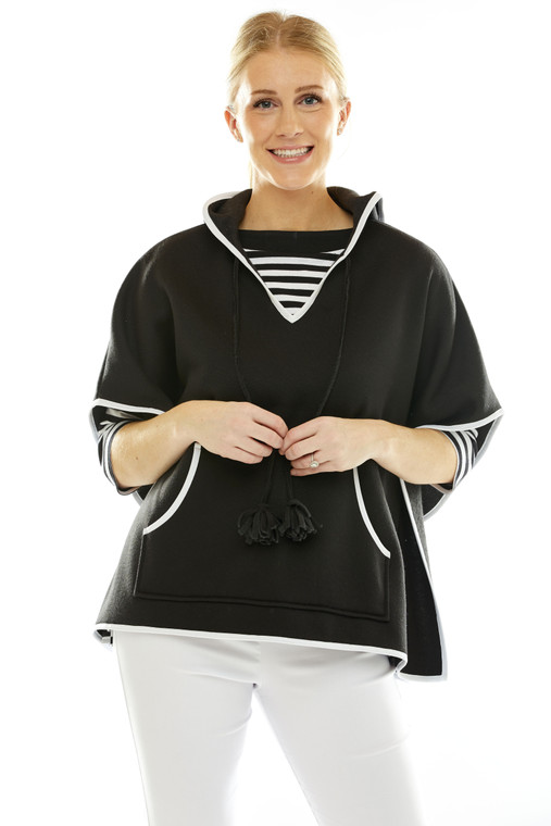 Sweatshirt Poncho With Closed Arms And White Trim