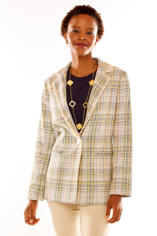 One Button Multi Tweed Jacket With Fringe Trim