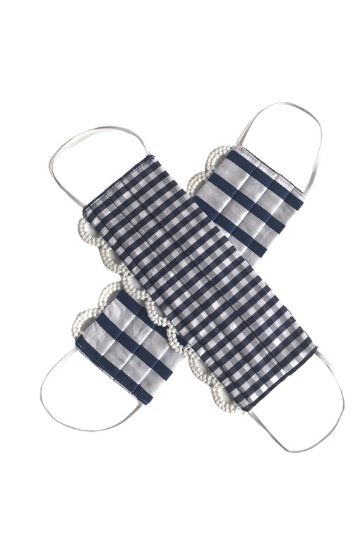 Gingham and Stripe Reversible Mask with Trim