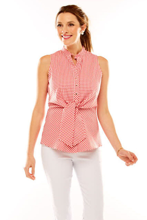 Sleeveless Gingham Top With Tie At Waist