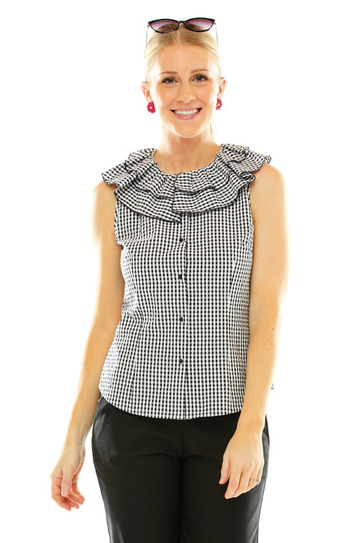 Ruffle Neck Fitted Blouse
