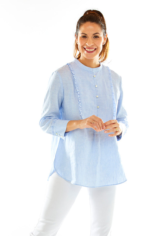 Linen Shirt With Baby Ruffle Details