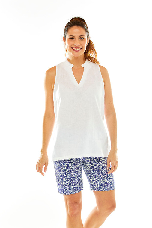 Linen Blouse With Pleated Neckline