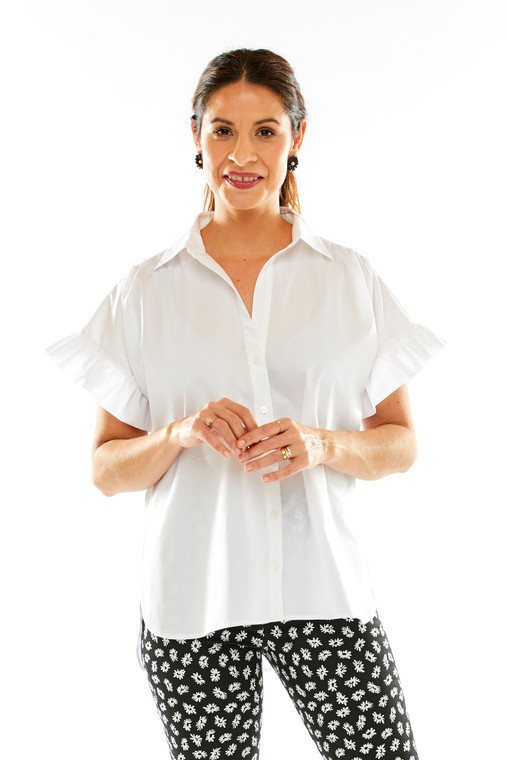 Swing Blouse With Collar And Ruffle At Sleeve