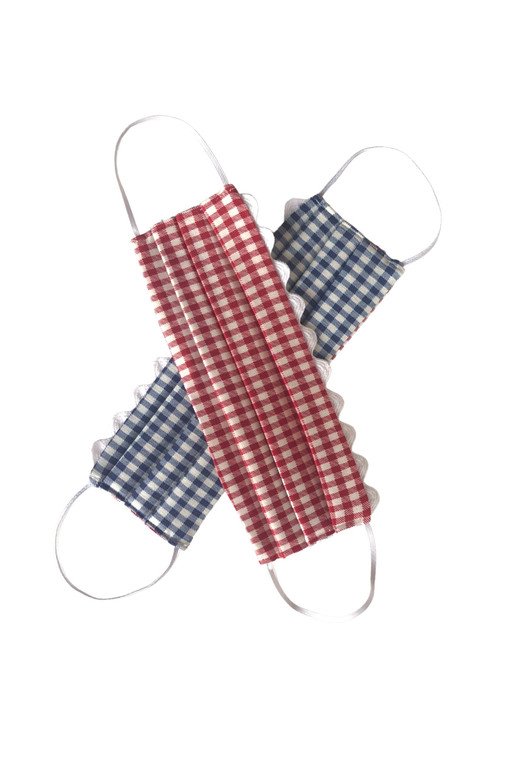 Red and Blue Gingham Reversible Mask