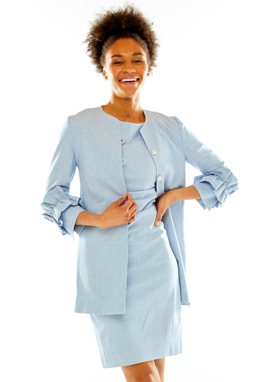 3/4 Sleeve Jacket With Ruffle Cuffs