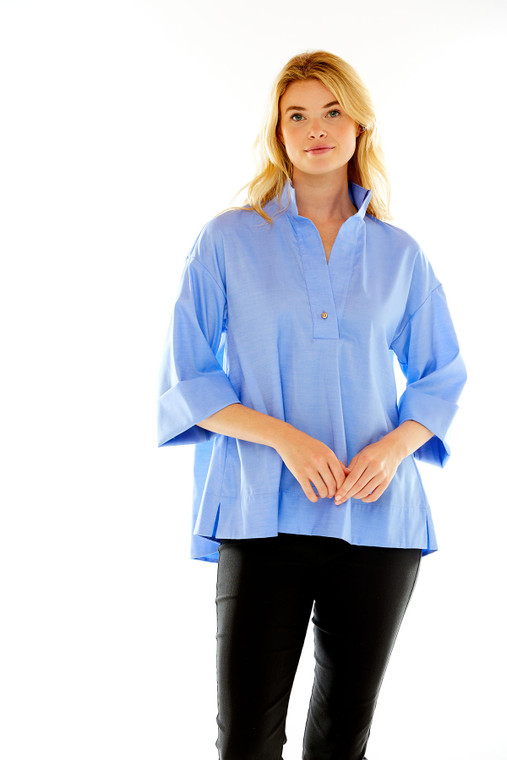Swing Blouse With Back Pleat And Grosgrain Detail