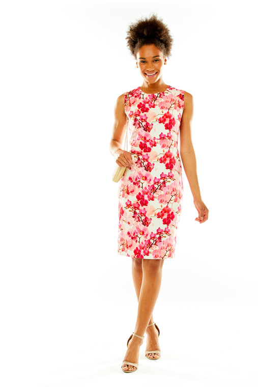 Floral Linen Sheath With Asymmetric Waist Tucks