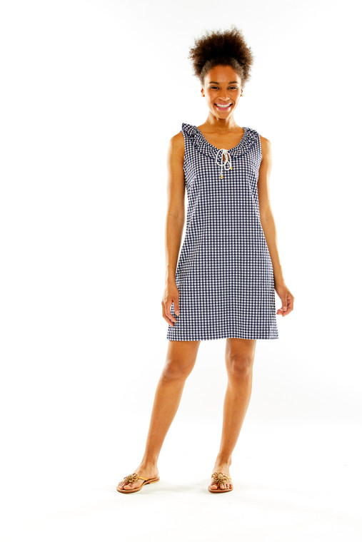 Gingham Knit Jacquard Dress With Ruffle Neck