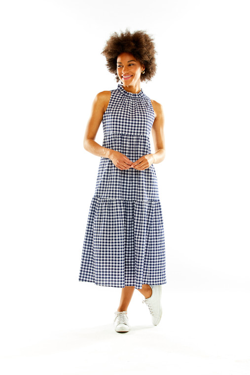 Tiered Midi Dress With Ruffle At Neck