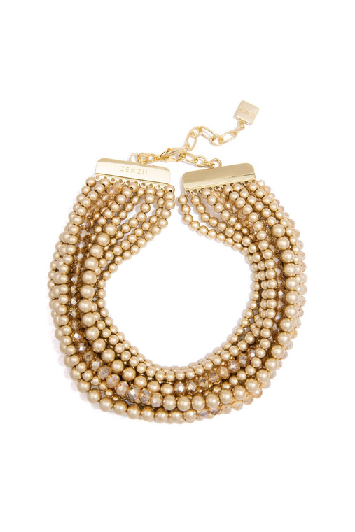Metallic And Crystal Beaded Collar Necklace