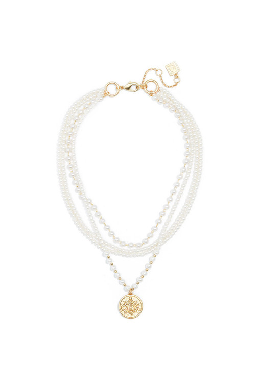Pearl Collar Necklace With Coin