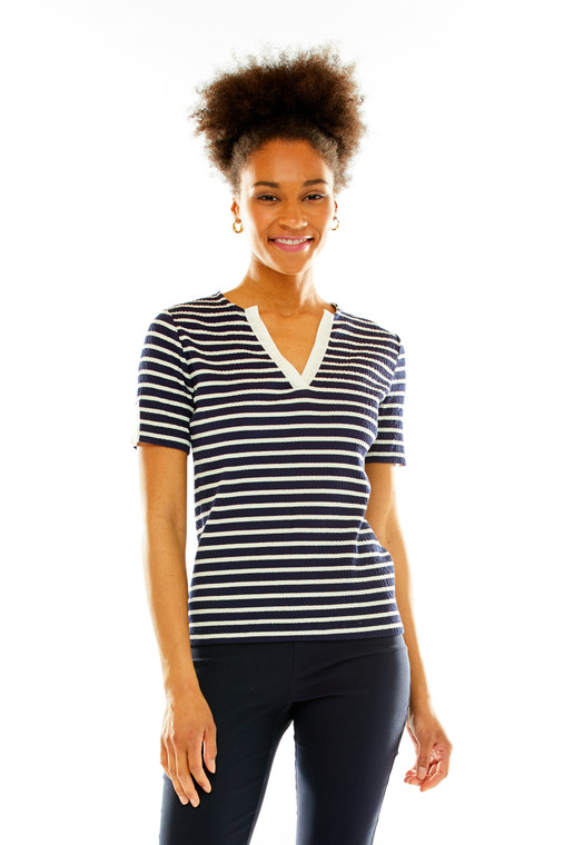 Smocked Knit Tee With Neck And Sleeve Slits
