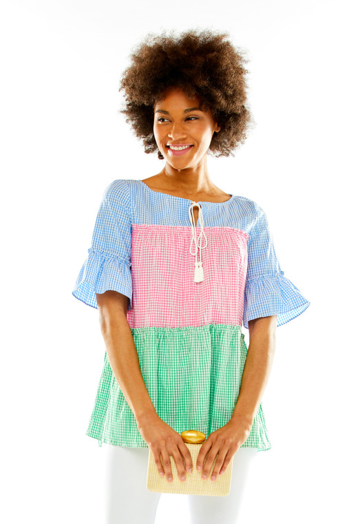 Gingham Colorblock Tiered Peasant Top