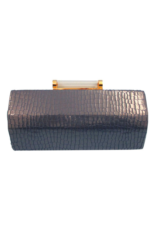 Croco Nappa Clutch With Lucite Clasp