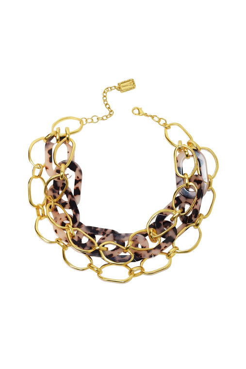 Gold Link & Tortoise Layered Necklace