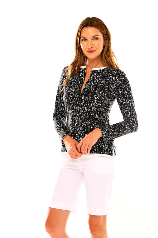 Long Sleeve Tee With Front Neck Zip