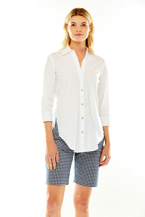 Button Front Cotton Shirt With Back Pleat Detail