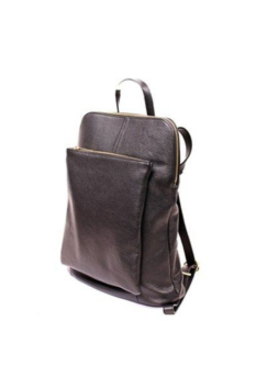 Leather Backpack With Front Zipper Pocket