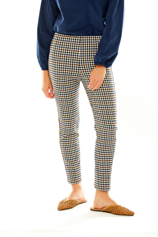 The Sheri Pant in Plaid with Suede Trim