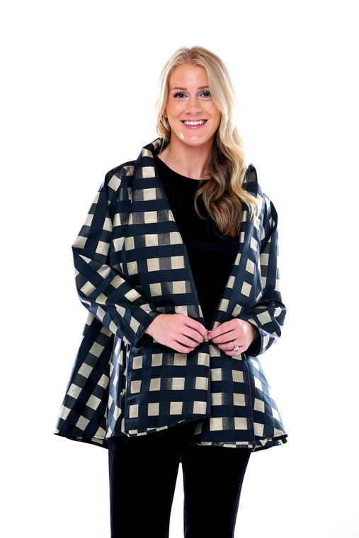 Fly Away Jacket in black and gold check