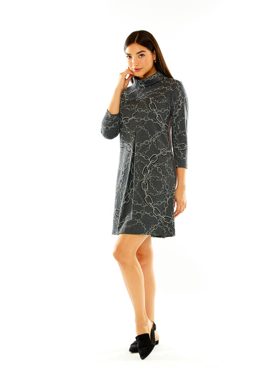 Status Knit Jacquard Mock Neck Dress in Grey Multi Print, featuring a red ribbon detail along the side.