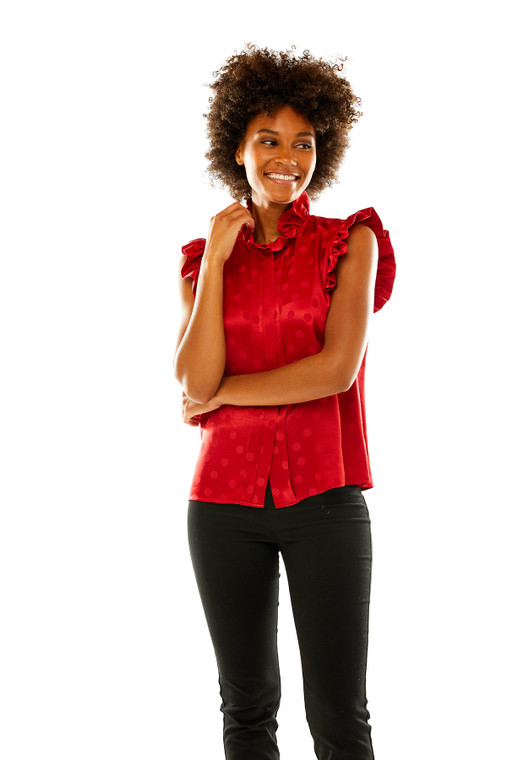 Dot Jacquard Satin Blouse With Ruffle Neck in Red