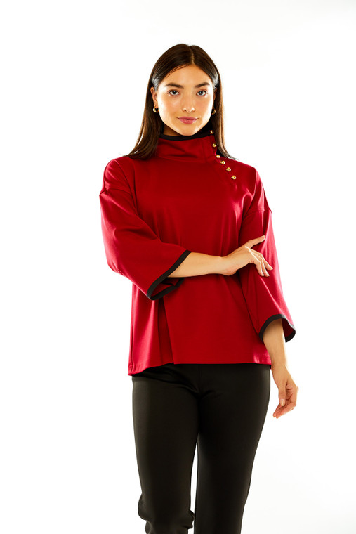 Ponte Mock Neck Top With Gold Buttons in Red