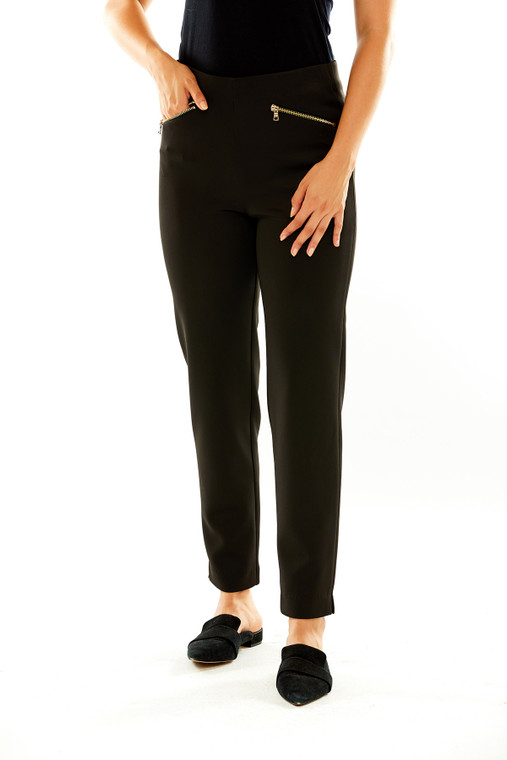 Scuba Pant With Metal Zipper Pockets in Black
