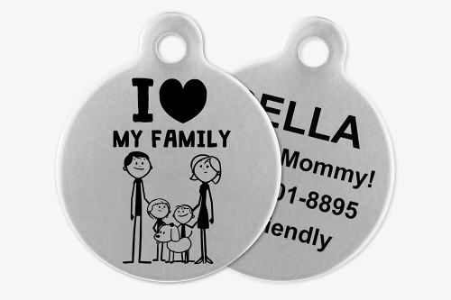 I Love My Family - Stick Dog Pet Tag