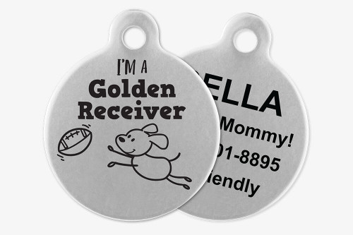 I'm a Golden Receiver - Stick Dog Pet Tag