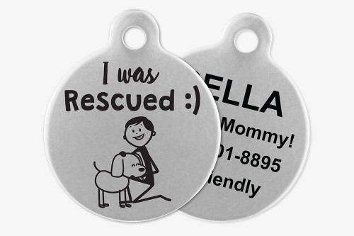 I was Rescued - Stick Dog Pet Tag