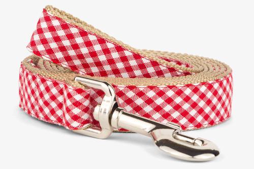 Red Gingham Fabric Dog Collar