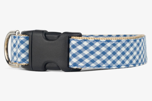 Denim Gingham Dog Collar