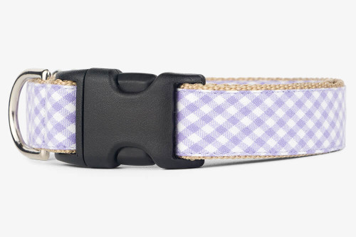Lavender Gingham Dog Collar