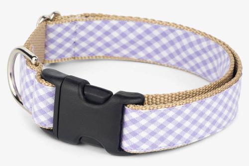 Lavender Gingham Dog Collar