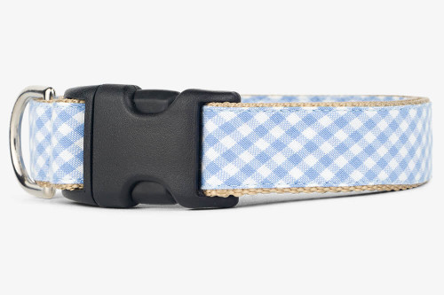 Periwinkle Gingham Dog Collar