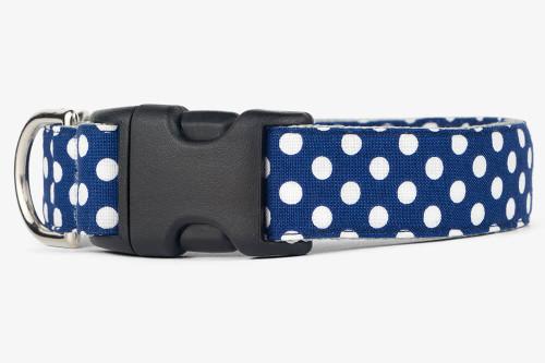 Navy Dots Dog Collar