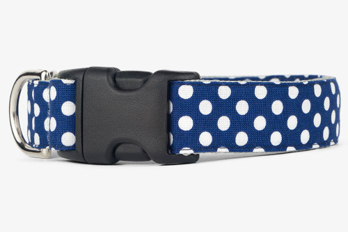 Navy Dots Dog Collar